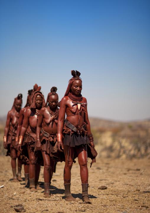 Group Of Muhimba Women Walking, Village Of Elola, Angola