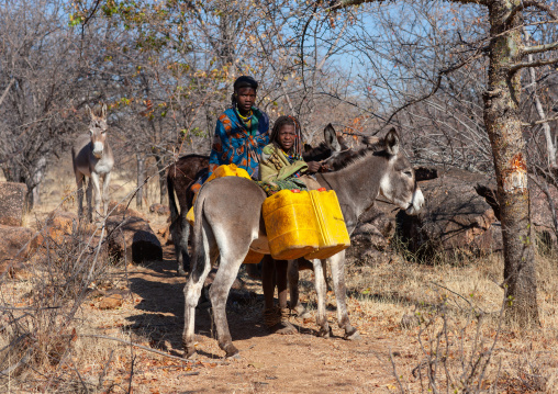 Muhacaona tribe women collecting water with their donkeys, Cunene Province, Oncocua, Angola