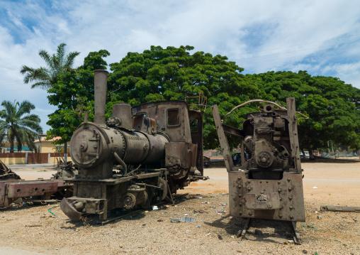 Antique locomotive displayed along the road, Benguela Province, Benguela, Angola