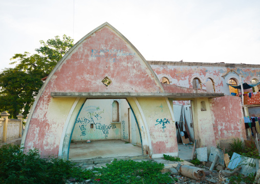 Old portuguese colonial house in ruins, Benguela Province, Lobito, Angola