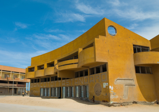 Abandoned banco Totta Standard angola with bullet impacts, Namibe Province, Tomboa, Angola