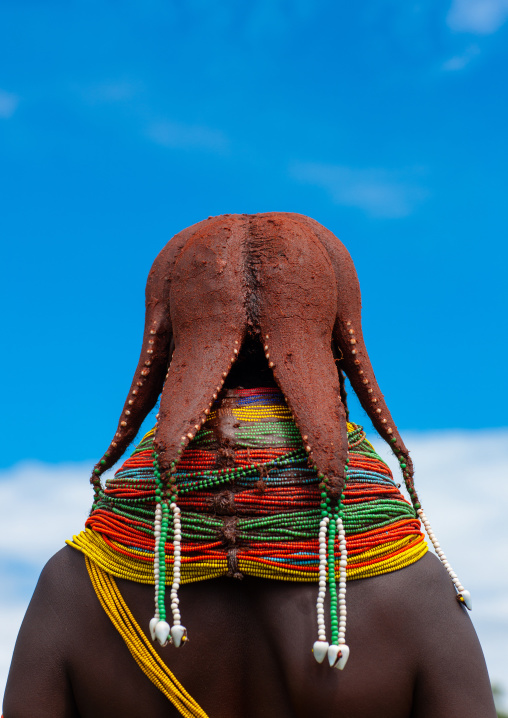 Rear view of a Mumuhuila tribe woman with an hairstyle in octopus shape, Huila Province, Chibia, Angola