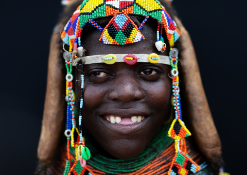 Portrait of a smiling Mumuhuila tribe woman, Huila Province, Chibia, Angola