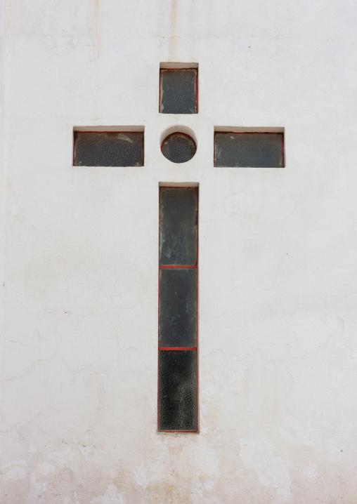 Window in a christian cross shape on se catedral do huambo, Huambo Province, Huambo, Angola