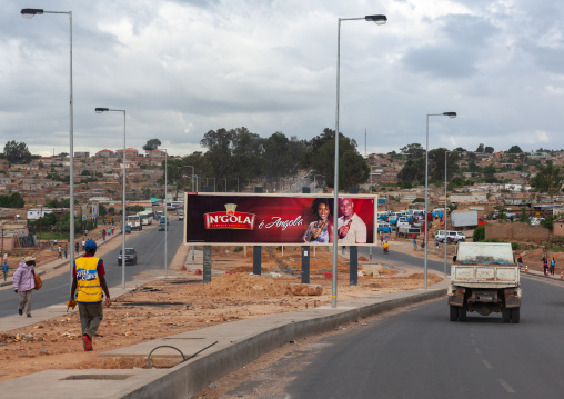 N'gola advertissement billboard in the city, Huila Province, Lubango, Angola