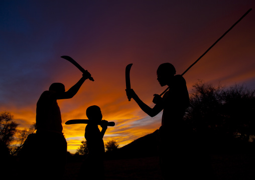 Mukabal Boys With Omotungo Knives At Sunset, Virie Area, Angola
