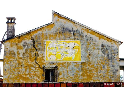 Old Communist Propaganda On The Facade Of A House In Lubango, Angola