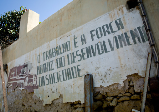 Old Communist Propaganda Painted On A Wall Of Namibe Town, Angola