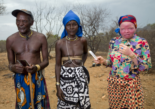 Mukubal Couple With Their Albino Daughter, Virie Area, Angola