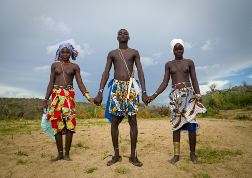 Mucubal Man With His Two Wives, Virie Area, Angola
