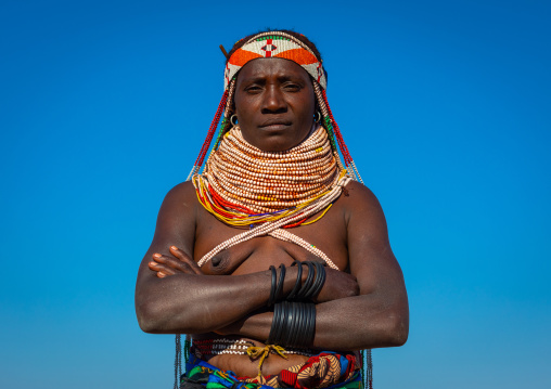 Handa tribe woman with huge beaded necklaces, Huila Province, Hoque, Angola