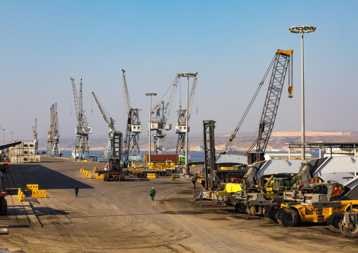 Cranes on the docks in the habour, Benguela Province, Lobito, Angola