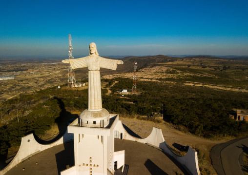 Aerial view of the Cristo Rei overlooking the city, Huila Province, Lubango, Angola