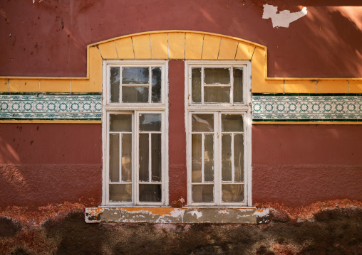 Window of an old portuguese colonial building, Namibe Province, Namibe, Angola