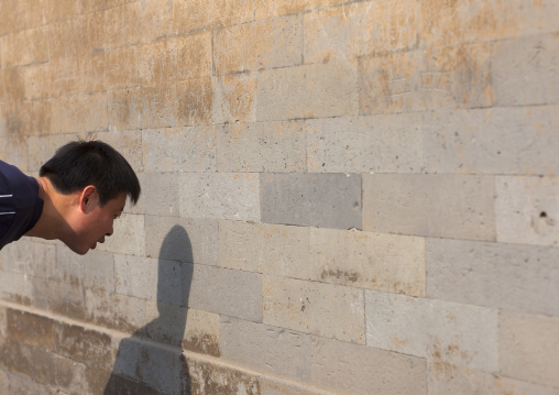 Man Shouting In Front Of The Wall To Hear The Echo, Temple Of Heaven, Beijing, China