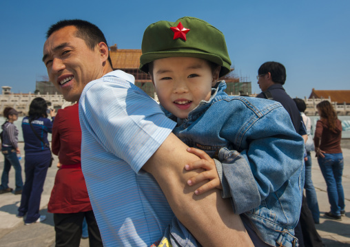 Father Holding Little Girl With A Communist Cap On His Back, Forbidden City, Beijing, China