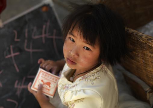 Chinese Girl At School, Xizhou, Yunnan Province, China