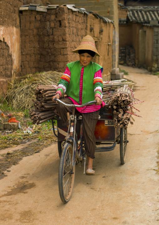 Old Mongolian Minority Woman Riding, Tong Hai, Yunnan Province, China