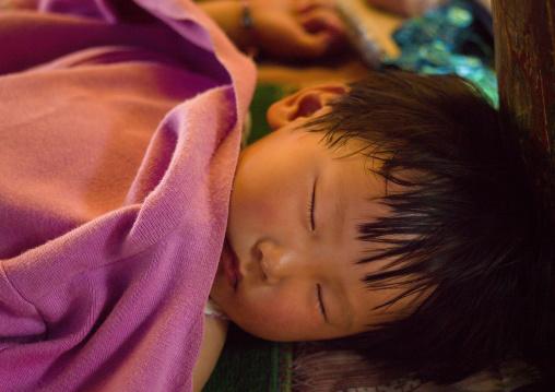 Chinese Baby Sleeping, Lijiang, Yunnan Province, China