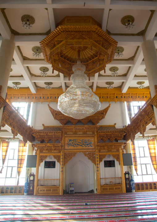 Inside the chinese-style mosque of the Salar people, Qinghai province, Xunhua, China