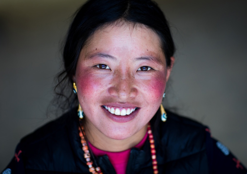 Portrait of a smiling tibetan nomad woman with her cheeks reddened by the harsh weather, Qinghai province, Tsekhog, China