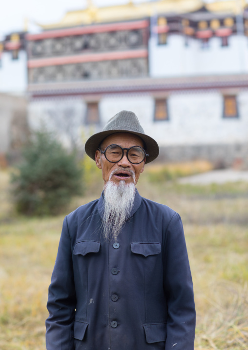 Portrait of an old chinese man with a long white beard in Hezuo monastery, Gansu province, Hezuo, China