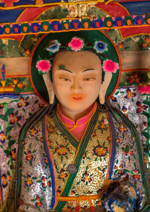 Tibetan buddhist sculptures made by monks from coloured butter in Labrang monastery, Gansu province, Labrang, China