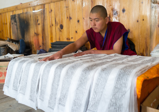 Tibetan scriptures printed from wooden blocks in the monastery traditional printing temple, Gansu province, Labrang, China