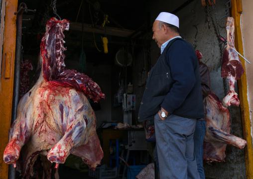 Butcher shop selling yak meat, Gansu province, Linxia, China