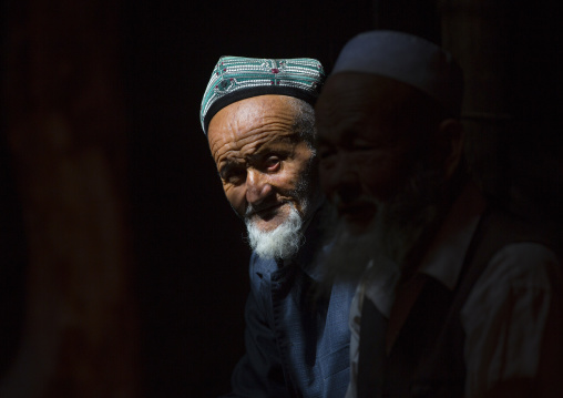 Old Uyghur Men, Minfeng, Xinjiang Uyghur Autonomous Region, China