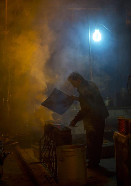 Cooking Meat in the street, Kashgar, Xinjiang Uyghur Autonomous Region, China