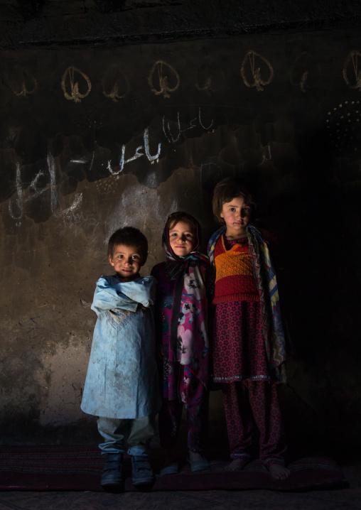 Afghan children in a pamiri house, Badakhshan province, Qazi deh, Afghanistan