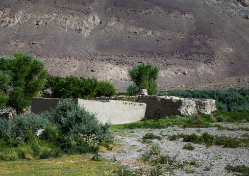 Pamiri adobe house in front of a mountain, Badakhshan province, Qazi deh, Afghanistan