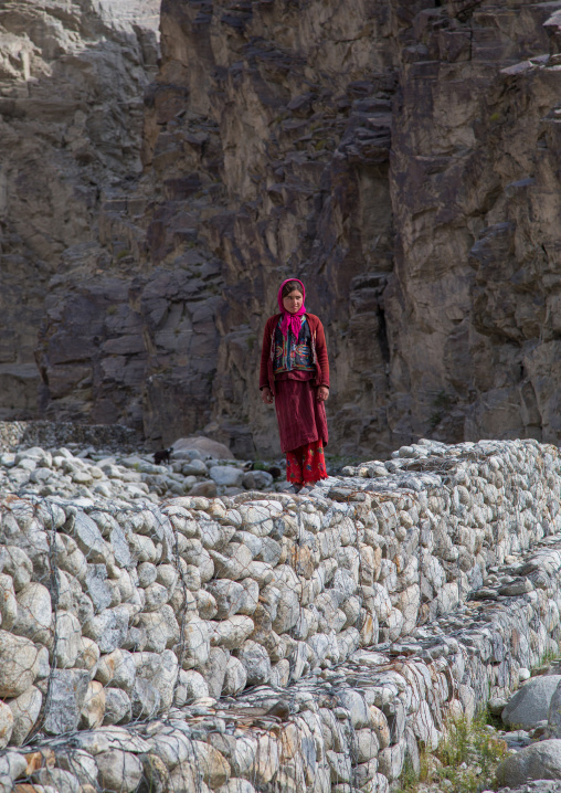 Wakhi woman in the pamir mountains, Badakhshan province, Wuzed, Afghanistan