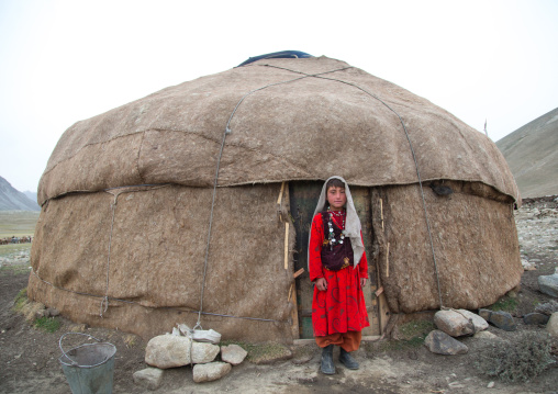 Wakhi nomad girl in front of her yurt, Big pamir, Wakhan, Afghanistan
