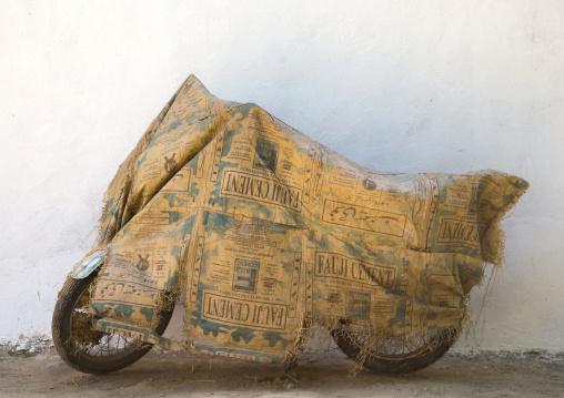 Wrapped motorcycle, Badakhshan province, Khandood, Afghanistan