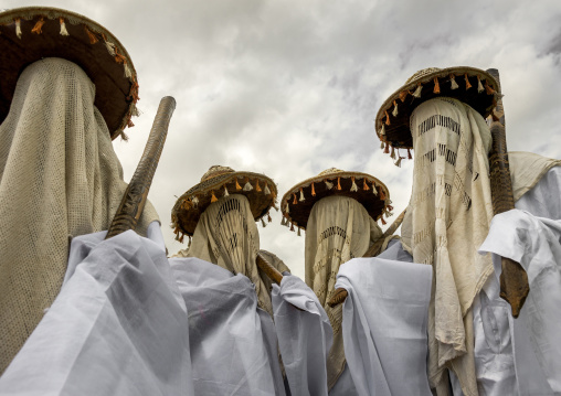 Benin, West Africa, Porto-Novo, masked messengers from yafin nigerian king