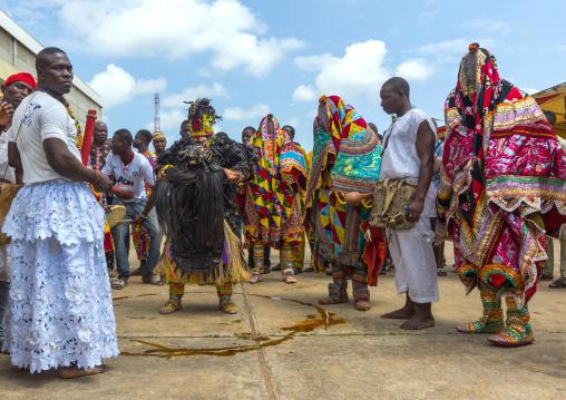 Benin, West Africa, Porto-Novo, egoun egoun spirit of the deads walking in the street to ask money to people