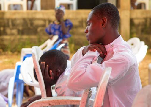 Benin, West Africa, Ganvié, celestial church of christ men praying