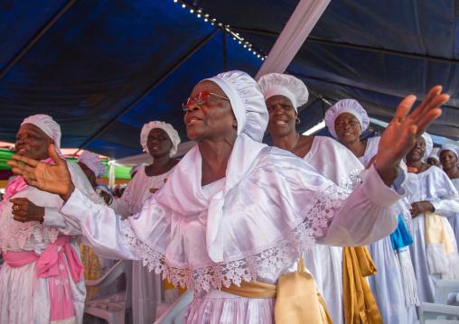 Benin, West Africa, Ganvié, celestial church of christ women praying and singing