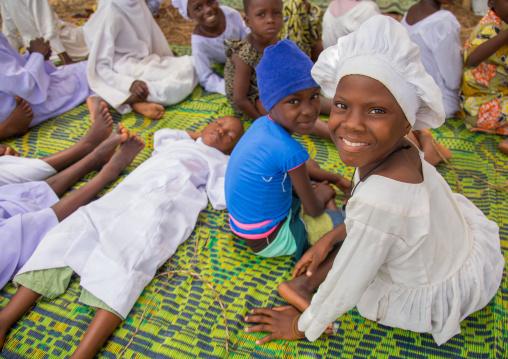 Benin, West Africa, Ganvié, celestial church of christ children resting