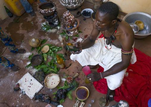 Benin, West Africa, Bonhicon, kagbanon bebe voodoo priest making a phone call during a ceremony