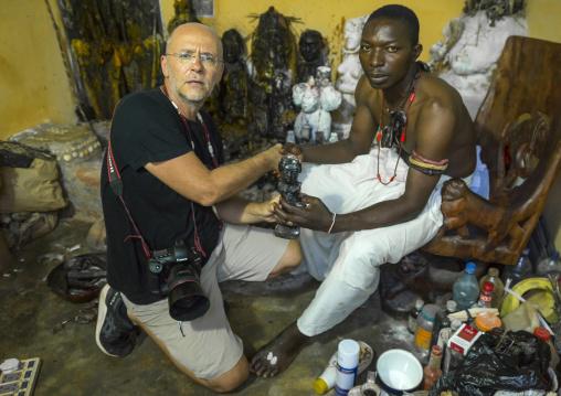 Benin, West Africa, Bonhicon, kagbanon bebe voodoo priest during a ceremony