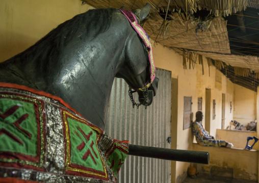 Benin, West Africa, Dassa-Zoumè, the king of dassa zoume former wooden horse on wheels