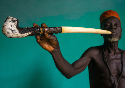 Benin, West Africa, Taneka-Koko, traditional healer called mister tcholi with his giant pipe