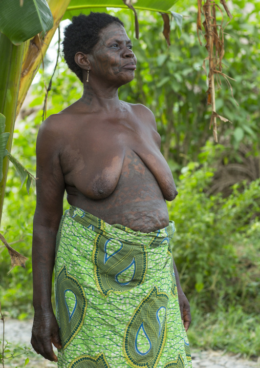 Benin, West Africa, Onigbolo Isaba, holi tribe woman covered with traditional tattoos and scars