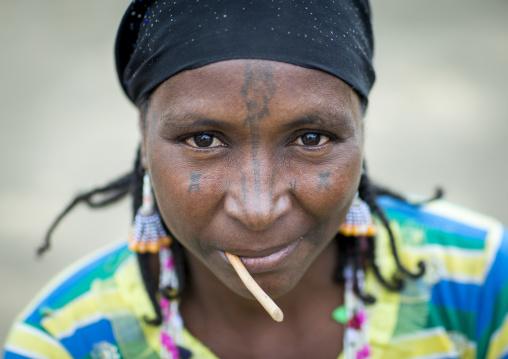 Benin, West Africa, Gossoue, a beautiful tattooed fulani peul tribe woman portrait
