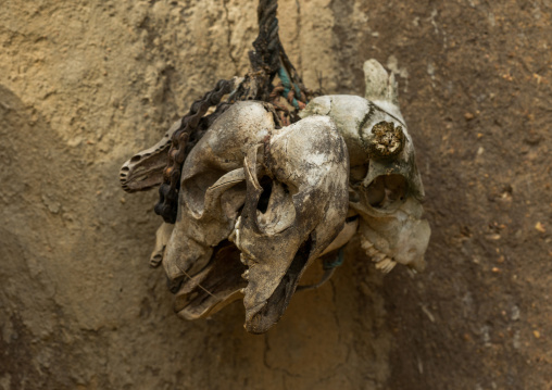 Benin, West Africa, Boukoumbé, fetish items protecting a traditional tata somba house