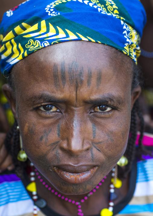 Benin, West Africa, Gossoue, a beautiful tattooed fulani peul tribe woman