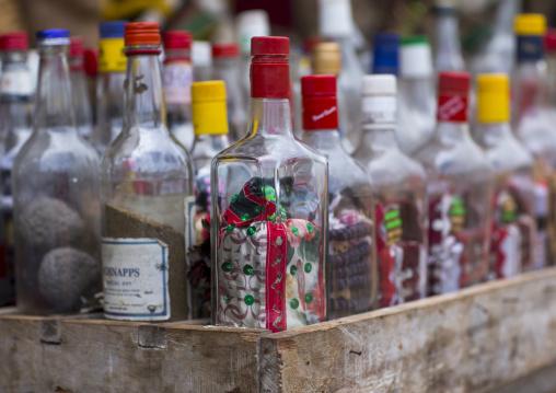 Benin, West Africa, Bonhicon, magic bottles sold on a voodoo market